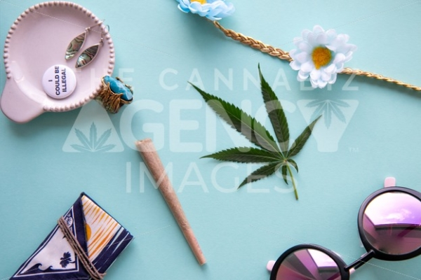 California Festival I Could Be Illegal on Turquoise Blue – Top Down - Cannabis Royalty Free Stock Images