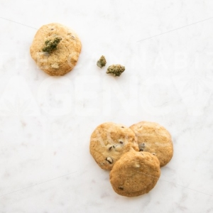 Chocolate Chip Cookies on White Marble – Top Down 2 - Cannabis Royalty Free Stock Images