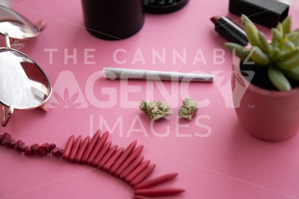 Festival Herbal Remedy on Pink with Red Necklace and Sunglasses – Angled - Cannabis Royalty Free Stock Images