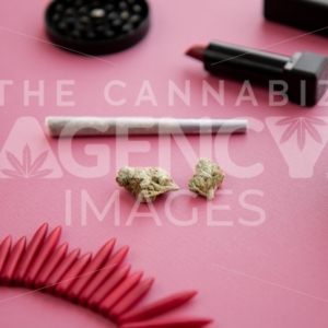 Festival Herbal Remedy on Pink with Red Necklace and Sunglasses – Portrait - Cannabis Royalty Free Stock Images