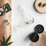 Herb and Wood – Top Down - Cannabis Royalty Free Stock Images