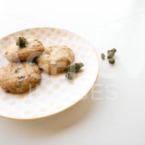 Weed cookies chocolate chip angled