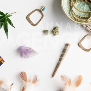 Hippy Festival Essentials on White 2 – Angled - Cannabis Royalty Free Stock Images