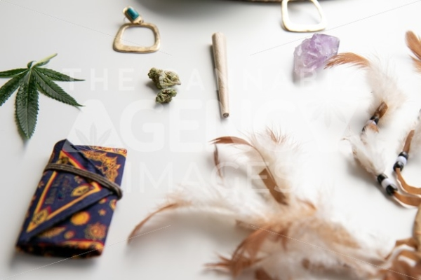 Hippy Festival Essentials on White Angled - Cannabis Royalty Free Stock Images