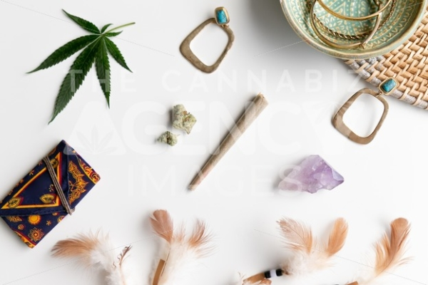 Hippy Festival Essentials on White – Top Down - Cannabis Royalty Free Stock Images