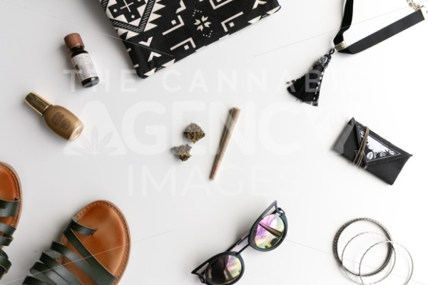 Let's Roll Black and White Tribal Flow - Top Down - Cannabis Royalty Free Stock Images