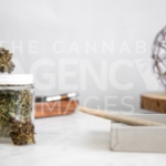 Pen on Wooden Tray, Flower Buds and Roll - Cannabis Royalty Free Stock Images