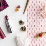 Pink Pineapples and Lipstick Disarray – Top Down - Cannabis Royalty Free Stock Images