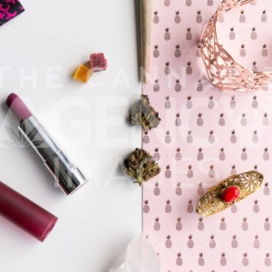 Pink Pineapples and Lipstick Neat – Top Down - Cannabis Royalty Free Stock Images