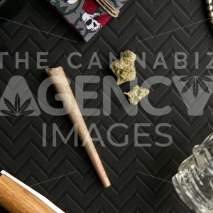 Skull and Roses - Top Down - Cannabis Royalty Free Stock Images