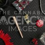 Skull and Roses Girl Power – Top Down - Cannabis Royalty Free Stock Images