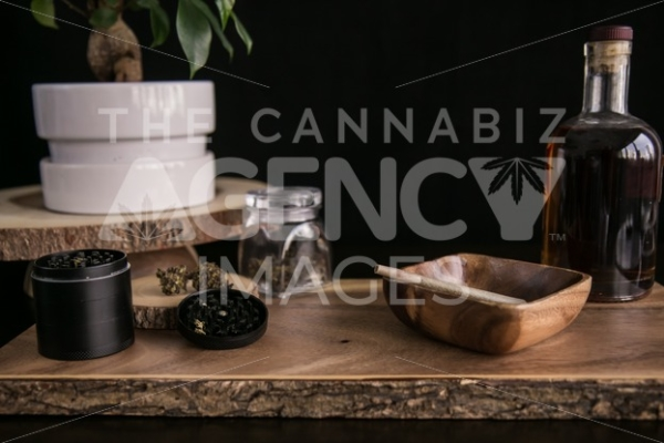 Herbs and Bourbon Wood - Cannabis Royalty Free Stock Images